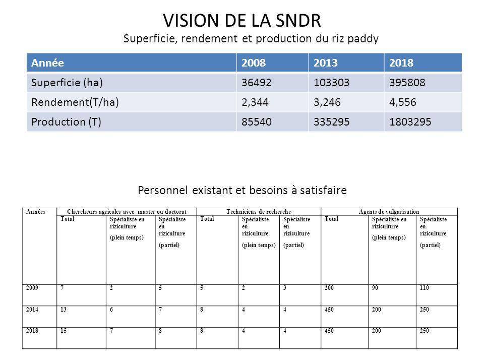 VISION DE LA SNDR Superficie, rendement et production du riz paddy Personnel existant et besoins à satisfaire Année200820132018 Superficie (ha)3649210