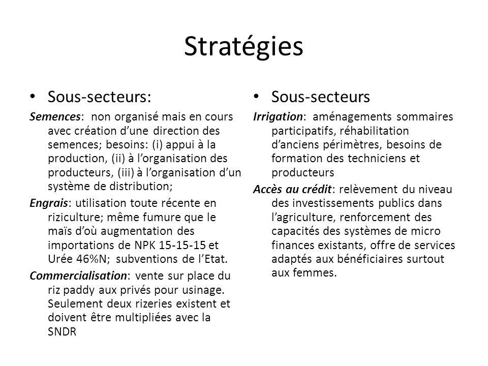 Stratégies Sous-secteurs: Semences: non organisé mais en cours avec création dune direction des semences; besoins: (i) appui à la production, (ii) à lorganisation des producteurs, (iii) à lorganisation dun système de distribution; Engrais: utilisation toute récente en riziculture; même fumure que le maïs doù augmentation des importations de NPK 15-15-15 et Urée 46%N; subventions de lEtat.
