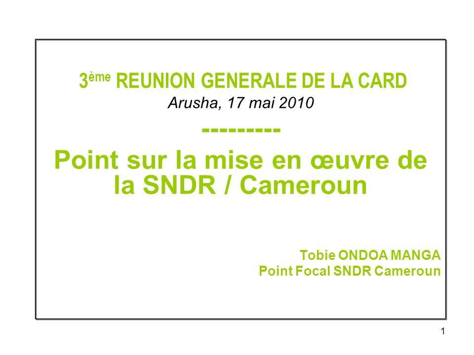2 Plan de lexposé 1- Chronologie du processus au Cameroun 2- Modalité de mise en œuvre 3- Contraintes à la mise en oeuvre 4- Situation des interventions 5- Liens entre SNDR et autres documents nationaux de stratégie 6- Perspectives