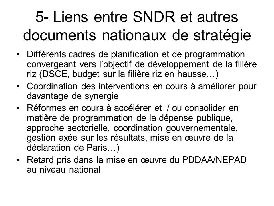 5- Liens entre SNDR et autres documents nationaux de stratégie Différents cadres de planification et de programmation convergeant vers lobjectif de dé