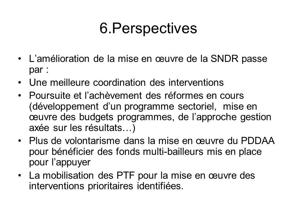 6.Perspectives Lamélioration de la mise en œuvre de la SNDR passe par : Une meilleure coordination des interventions Poursuite et lachèvement des réfo