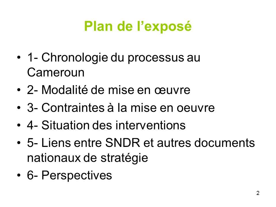 2 Plan de lexposé 1- Chronologie du processus au Cameroun 2- Modalité de mise en œuvre 3- Contraintes à la mise en oeuvre 4- Situation des interventio