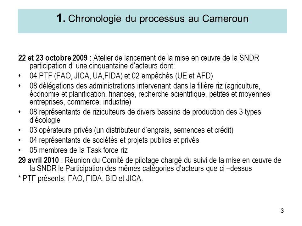3 1. Chronologie du processus au Cameroun 22 et 23 octobre 2009 : Atelier de lancement de la mise en œuvre de la SNDR participation d une cinquantaine