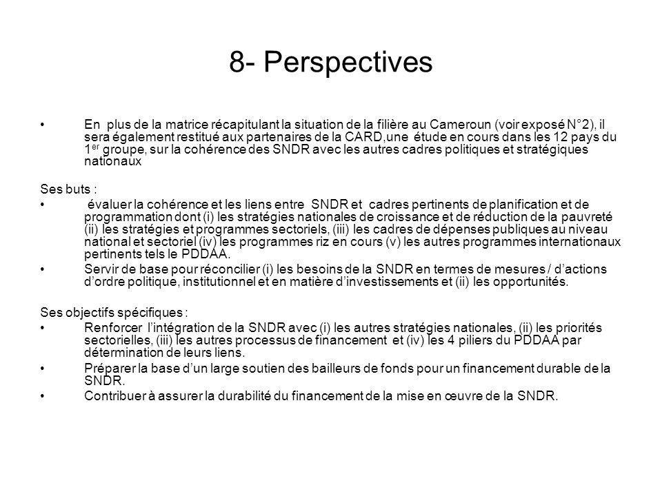 5- Liens entre SNDR et autres documents nationaux de stratégie Différents cadres de planification et de programmation convergeant vers lobjectif de développement de la filière riz (DSCE, budget sur la filière riz en hausse…) Coordination des interventions en cours à améliorer pour davantage de synergie Réformes en cours à accélérer et / ou consolider en matière de programmation de la dépense publique, approche sectorielle, coordination gouvernementale, gestion axée sur les résultats, mise en œuvre de la déclaration de Paris…) Retard pris dans la mise en œuvre du PDDAA/NEPAD au niveau national