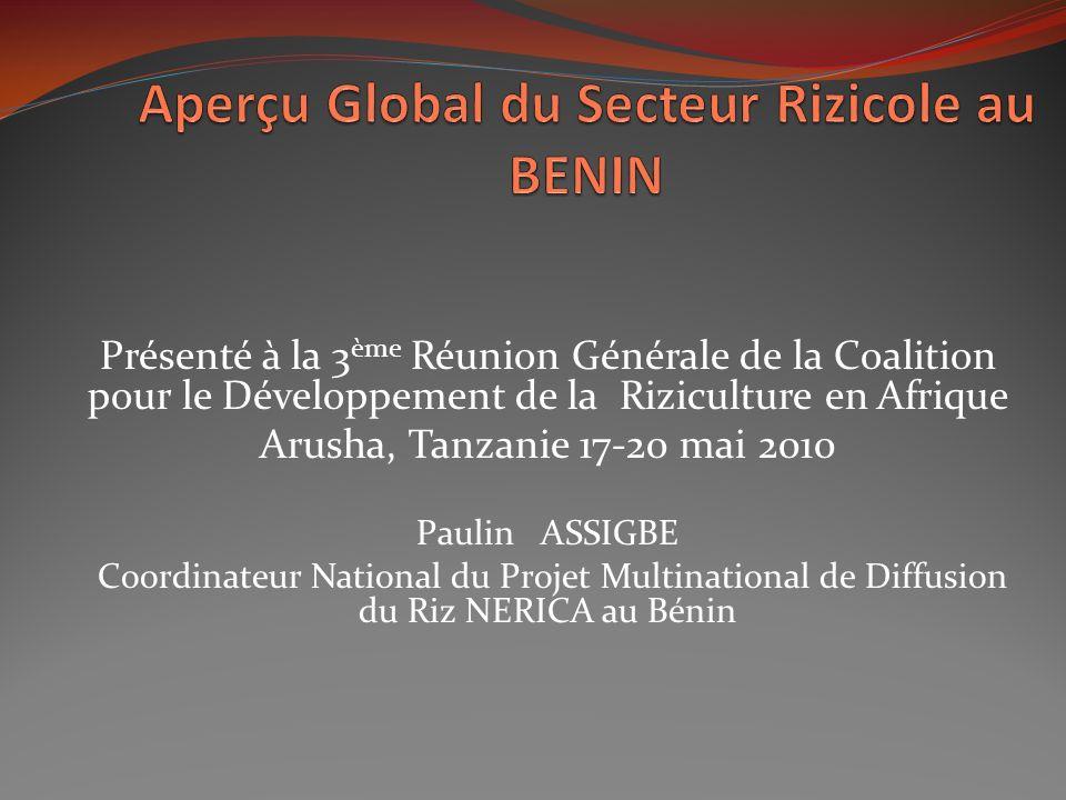 Besoins et Potentialités du Bénin dans le Secteur Rizicole Collines Atacora Donga Zou Besoins en consommation du riz élevés: 25 à 30 kg/hab./an, soit 175 000 à 210 000 tonnes lan Production locale faible: 151 604 tonnes environ en 2009 (DPP/MAEP, 2010): importance du riz pour les populations du Bénin Disponibilités en terres: 322 000 ha de terres irrigables dont 117 000 ha de plaines inondables et vallées et 205 000 ha de bas-fonds Disponibilités en eaux: 13106 millions de m 3 de ressources en eau superficielles et 1,870 milliard de m 3 d eaux souterraines.