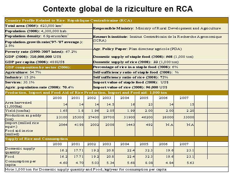 Contexte global de la riziculture en RCA