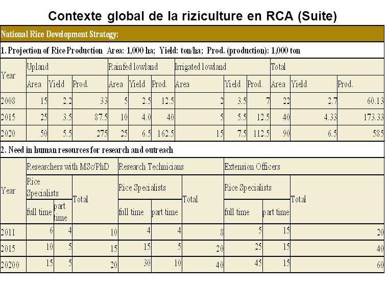 Contexte global de la riziculture en RCA (Suite)