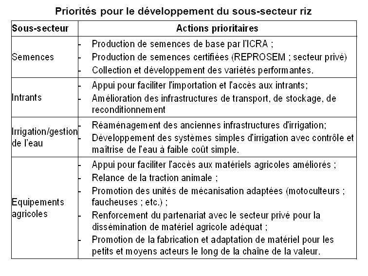 Priorités pour le développement du sous-secteur riz