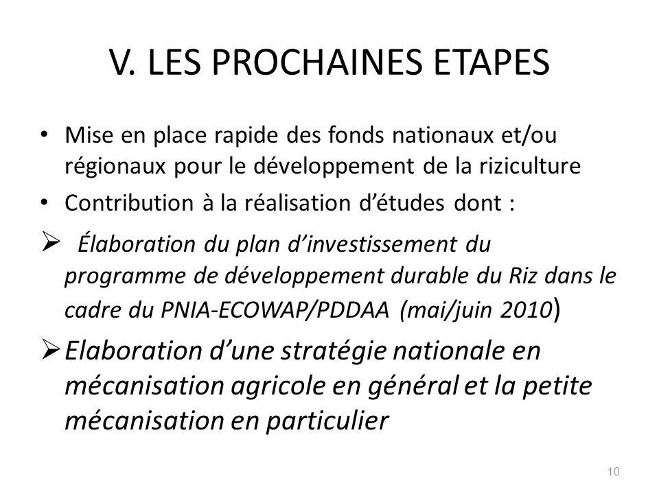 V. LES PROCHAINES ETAPES Mise en place rapide des fonds nationaux et/ou régionaux pour le développement de la riziculture Contribution à la réalisatio