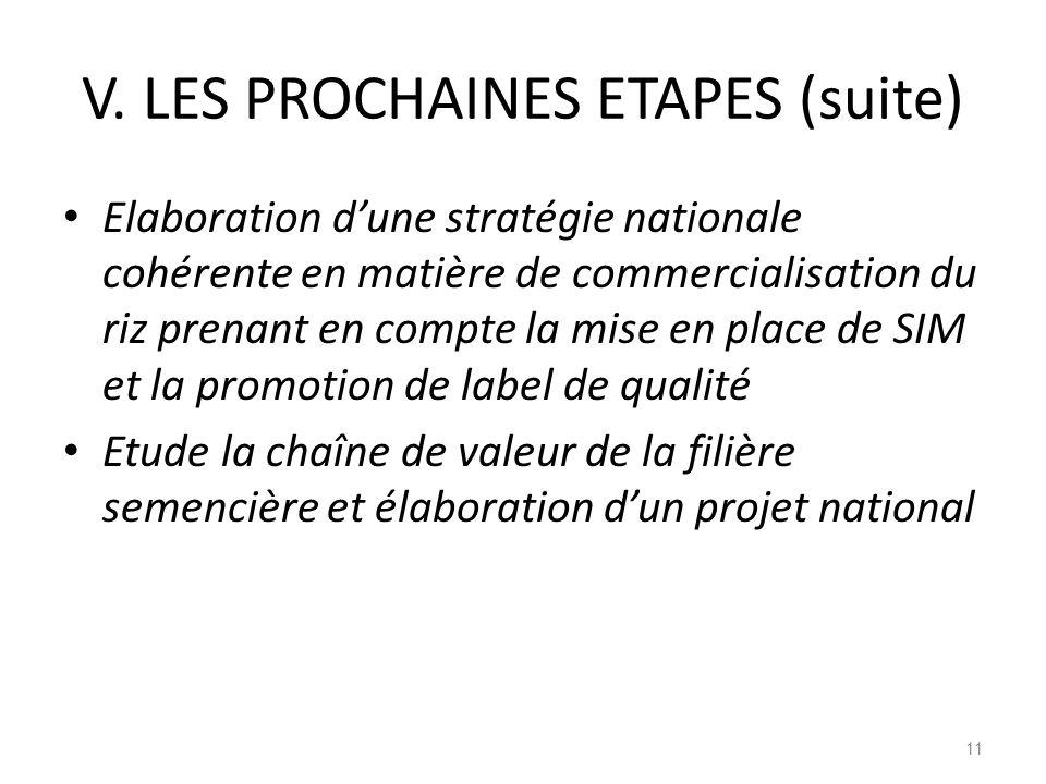 V. LES PROCHAINES ETAPES (suite) Elaboration dune stratégie nationale cohérente en matière de commercialisation du riz prenant en compte la mise en pl