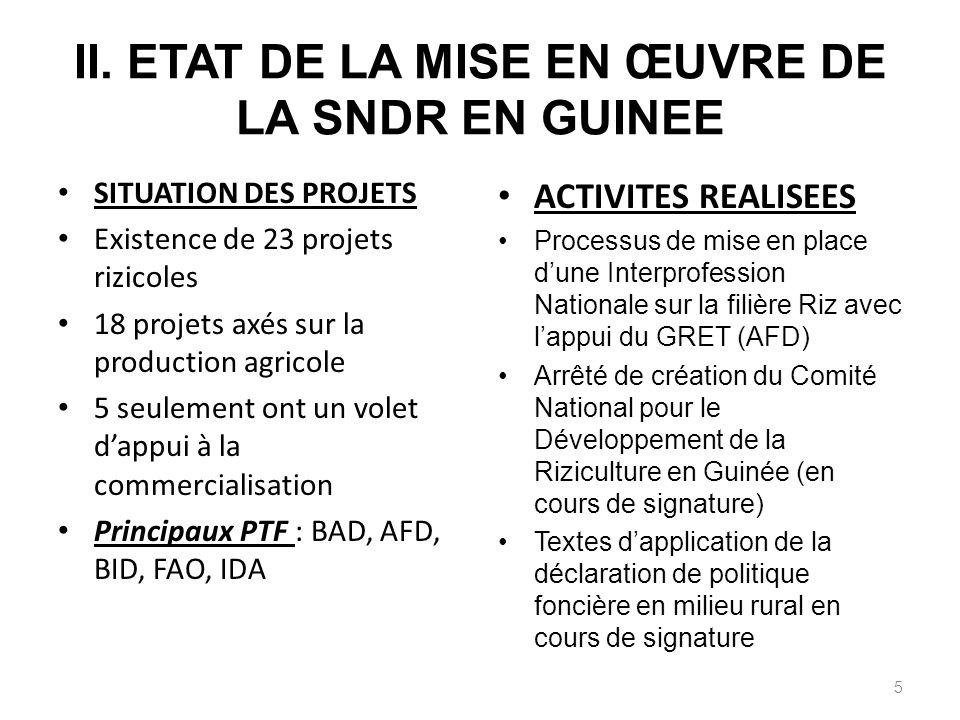 II. ETAT DE LA MISE EN ŒUVRE DE LA SNDR EN GUINEE SITUATION DES PROJETS Existence de 23 projets rizicoles 18 projets axés sur la production agricole 5