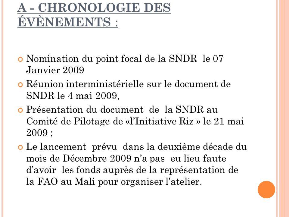 A - CHRONOLOGIE DES ÉVÈNEMENTS : Nomination du point focal de la SNDR le 07 Janvier 2009 Réunion interministérielle sur le document de SNDR le 4 mai 2