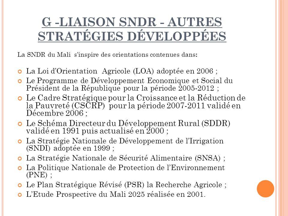 G -LIAISON SNDR - AUTRES STRATÉGIES DÉVELOPPÉES La SNDR du Mali sinspire des orientations contenues dans : La Loi dOrientation Agricole (LOA) adoptée