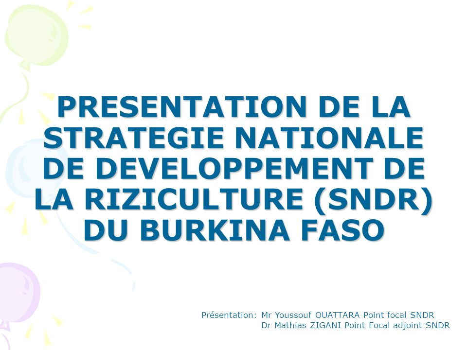 PRESENTATION DE LA STRATEGIE NATIONALE DE DEVELOPPEMENT DE LA RIZICULTURE (SNDR) DU BURKINA FASO Présentation: Mr Youssouf OUATTARA Point focal SNDR D