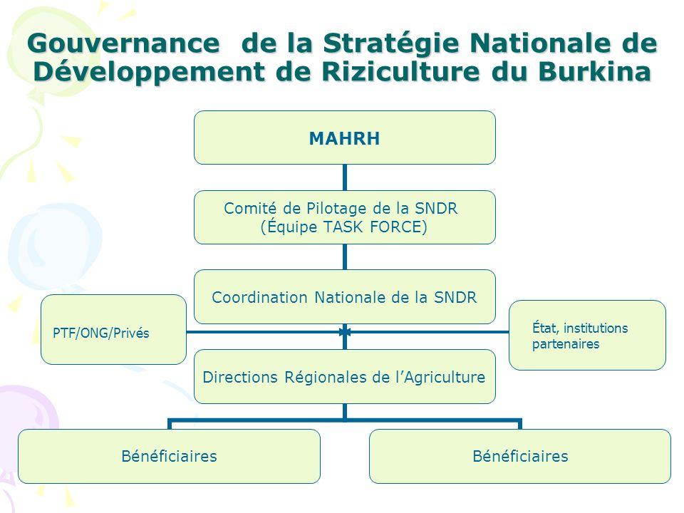 Gouvernance de la Stratégie Nationale de Développement de Riziculture du Burkina MAHRH Comité de Pilotage de la SNDR (Équipe TASK FORCE) Coordination Nationale de la SNDR Directions Régionales de lAgriculture Bénéficiaires PTF/ONG/Privés État, institutions partenaires