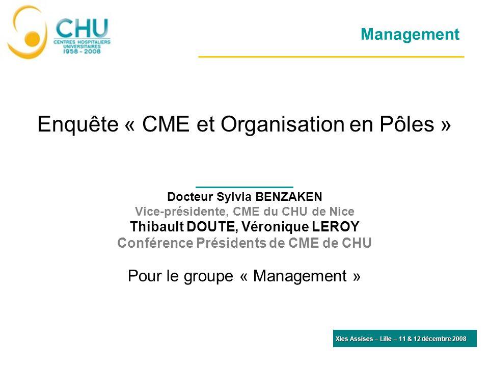 Management Enquête « CME et Organisation en Pôles » Docteur Sylvia BENZAKEN Vice-présidente, CME du CHU de Nice Thibault DOUTE, Véronique LEROY Confér