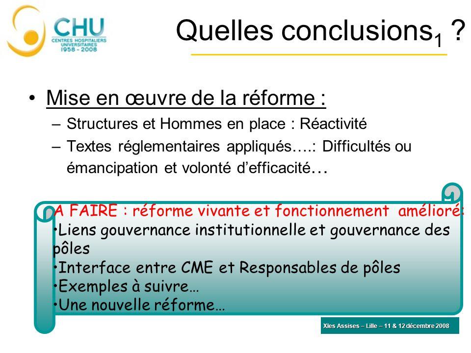 Quelles conclusions 1 ? Mise en œuvre de la réforme : –Structures et Hommes en place : Réactivité –Textes réglementaires appliqués….: Difficultés ou é