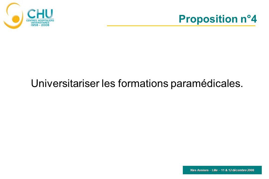 XIes Assises – Lille – 11 & 12 décembre 2008 Universitariser les formations paramédicales. Proposition n°4
