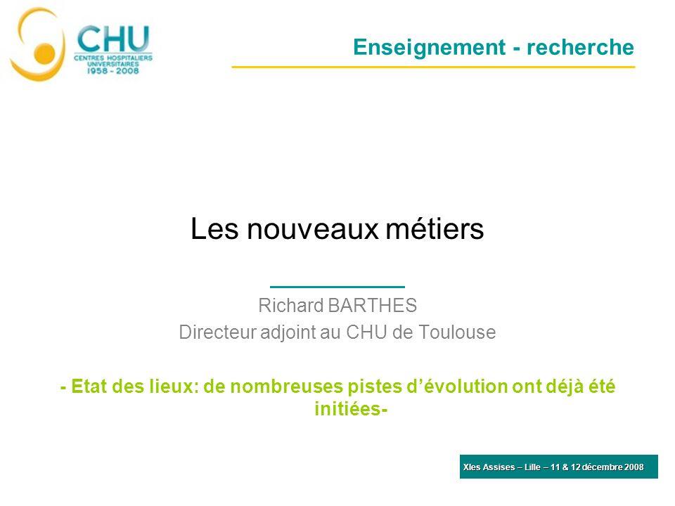 Enseignement - recherche Les nouveaux métiers Richard BARTHES Directeur adjoint au CHU de Toulouse - Etat des lieux: de nombreuses pistes dévolution o