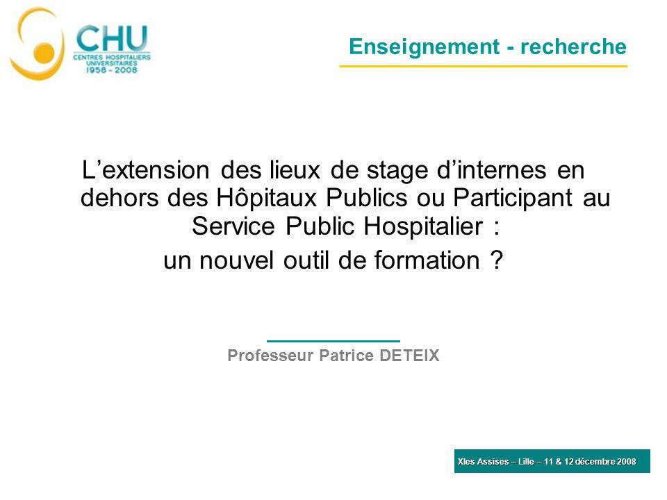 Enseignement - recherche Lextension des lieux de stage dinternes en dehors des Hôpitaux Publics ou Participant au Service Public Hospitalier : un nouvel outil de formation .