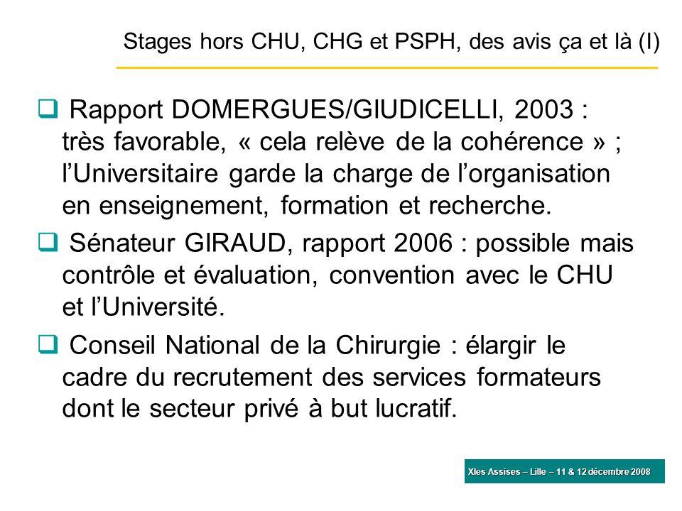 Rapport DOMERGUES/GIUDICELLI, 2003 : très favorable, « cela relève de la cohérence » ; lUniversitaire garde la charge de lorganisation en enseignement, formation et recherche.