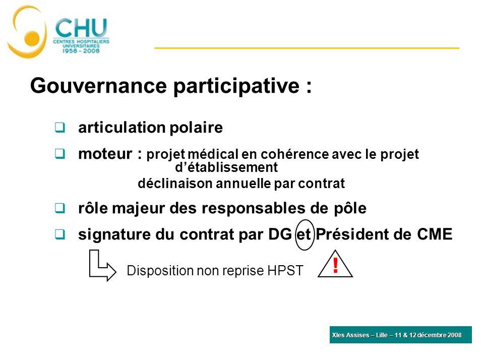 Gouvernance participative : articulation polaire moteur : projet médical en cohérence avec le projet détablissement déclinaison annuelle par contrat rôle majeur des responsables de pôle signature du contrat par DG et Président de CME Disposition non reprise HPST.