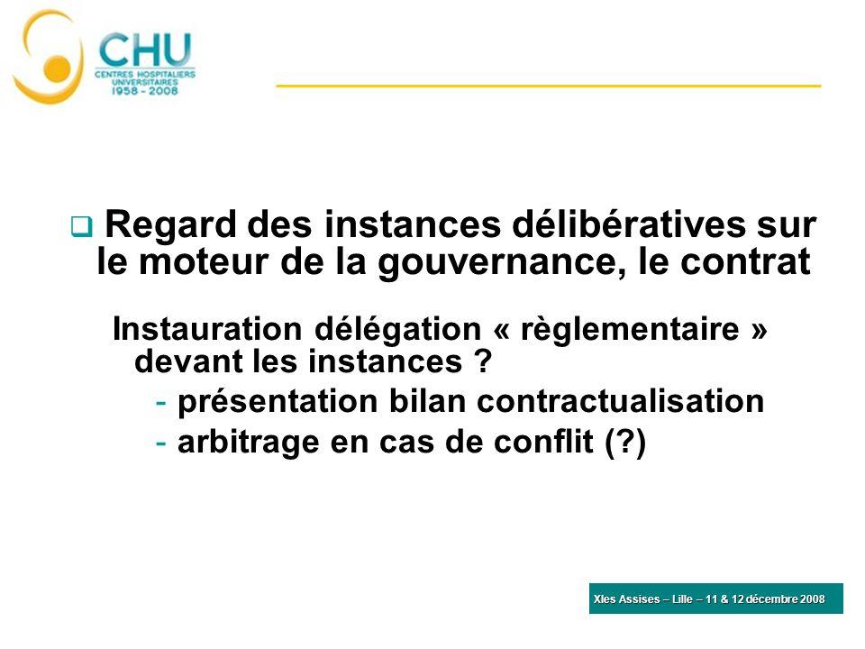 Regard des instances délibératives sur le moteur de la gouvernance, le contrat Instauration délégation « règlementaire » devant les instances ? -prése