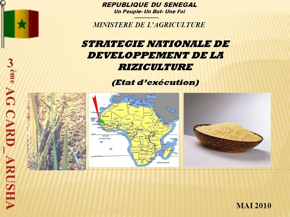 Activités de lancementParticipants Conseil Interministériel du 04 Janvier 2008, a adopté comme stratégie de développement de la riziculture (SNDR) le Programme National dAutosuffisance Alimentaire en Riz (PNAR) sous la présidence de Monsieur le Premier Ministre.