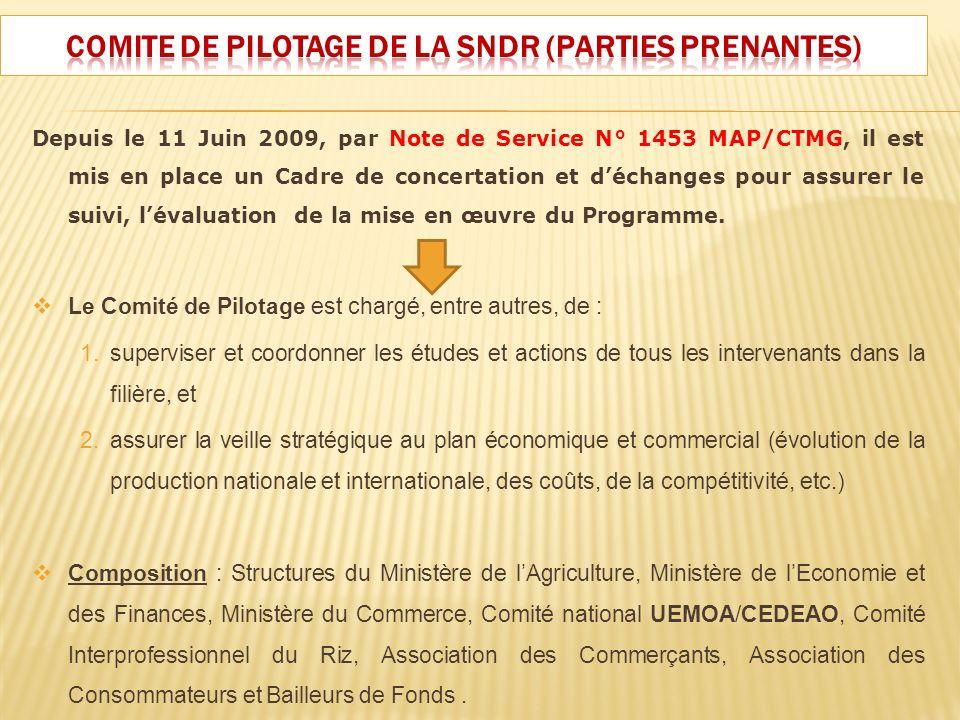 Depuis le 11 Juin 2009, par Note de Service N° 1453 MAP/CTMG, il est mis en place un Cadre de concertation et déchanges pour assurer le suivi, lévalua
