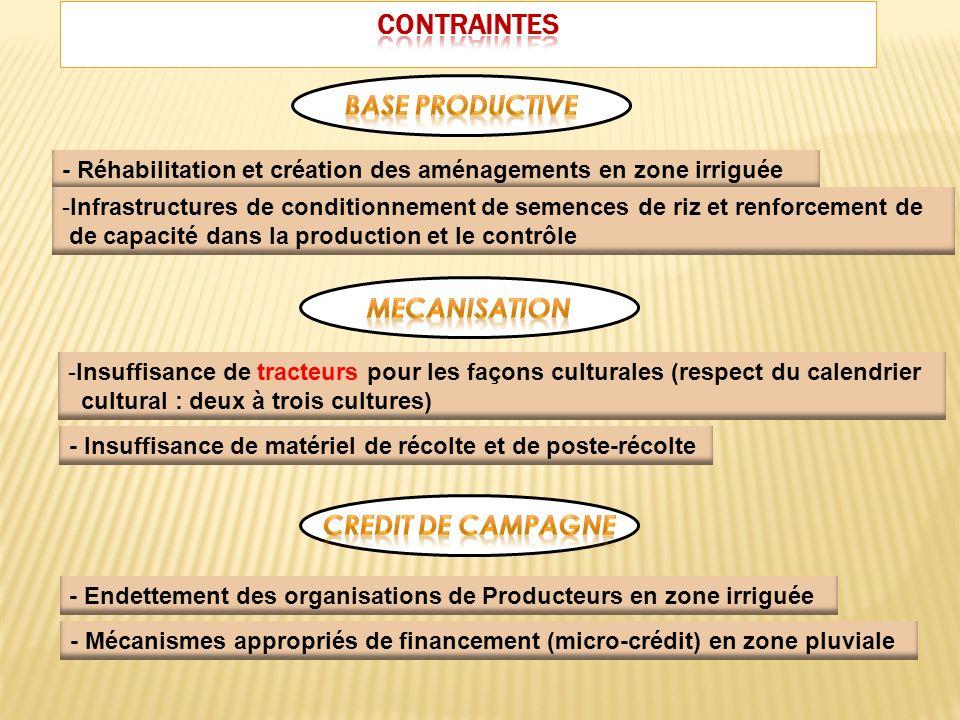 Fourniture de calibreurs et de Tamis et de Magasins Mesures incitatives destinées à accroître la production : Subvention intrants, dotation GMP, …etc.