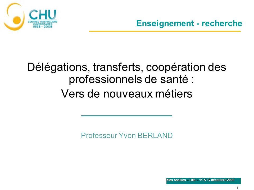 1 XIes Assises – Lille – 11 & 12 décembre 2008 Enseignement - recherche Délégations, transferts, coopération des professionnels de santé : Vers de nou