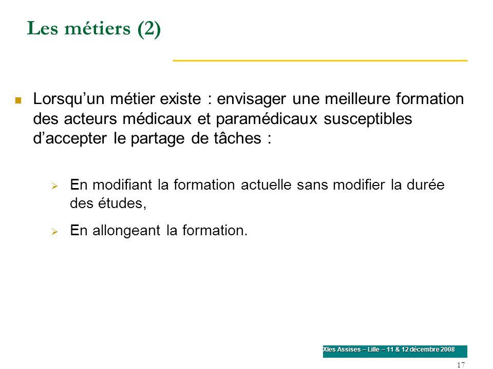 17 XIes Assises – Lille – 11 & 12 décembre 2008 Lorsquun métier existe : envisager une meilleure formation des acteurs médicaux et paramédicaux suscep