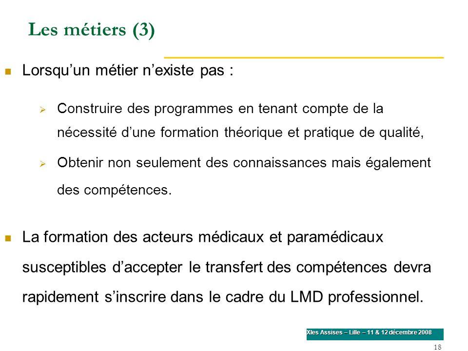 18 XIes Assises – Lille – 11 & 12 décembre 2008 Lorsquun métier nexiste pas : Construire des programmes en tenant compte de la nécessité dune formatio