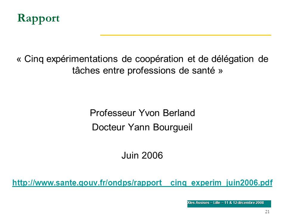 21 XIes Assises – Lille – 11 & 12 décembre 2008 Rapport « Cinq expérimentations de coopération et de délégation de tâches entre professions de santé »
