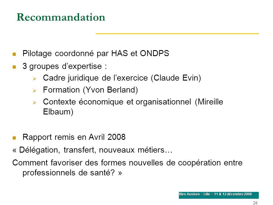 26 XIes Assises – Lille – 11 & 12 décembre 2008 Recommandation Pilotage coordonné par HAS et ONDPS 3 groupes dexpertise : Cadre juridique de lexercice