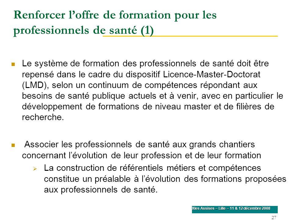 27 XIes Assises – Lille – 11 & 12 décembre 2008 Renforcer loffre de formation pour les professionnels de santé (1) Le système de formation des profess