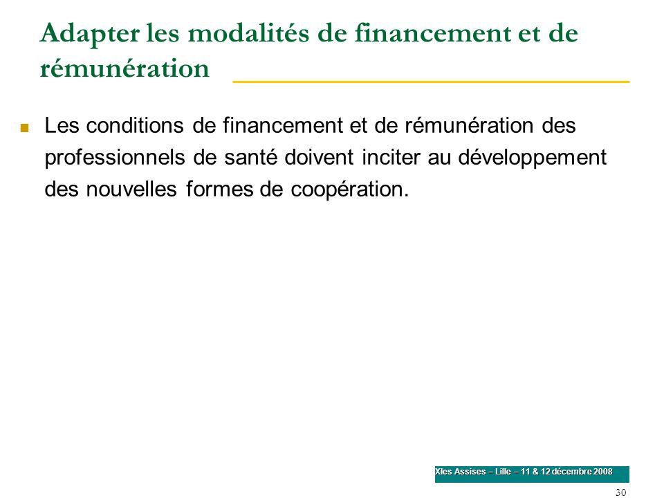 30 XIes Assises – Lille – 11 & 12 décembre 2008 Adapter les modalités de financement et de rémunération Les conditions de financement et de rémunérati