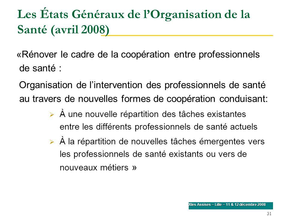 31 XIes Assises – Lille – 11 & 12 décembre 2008 Les États Généraux de lOrganisation de la Santé (avril 2008) «Rénover le cadre de la coopération entre