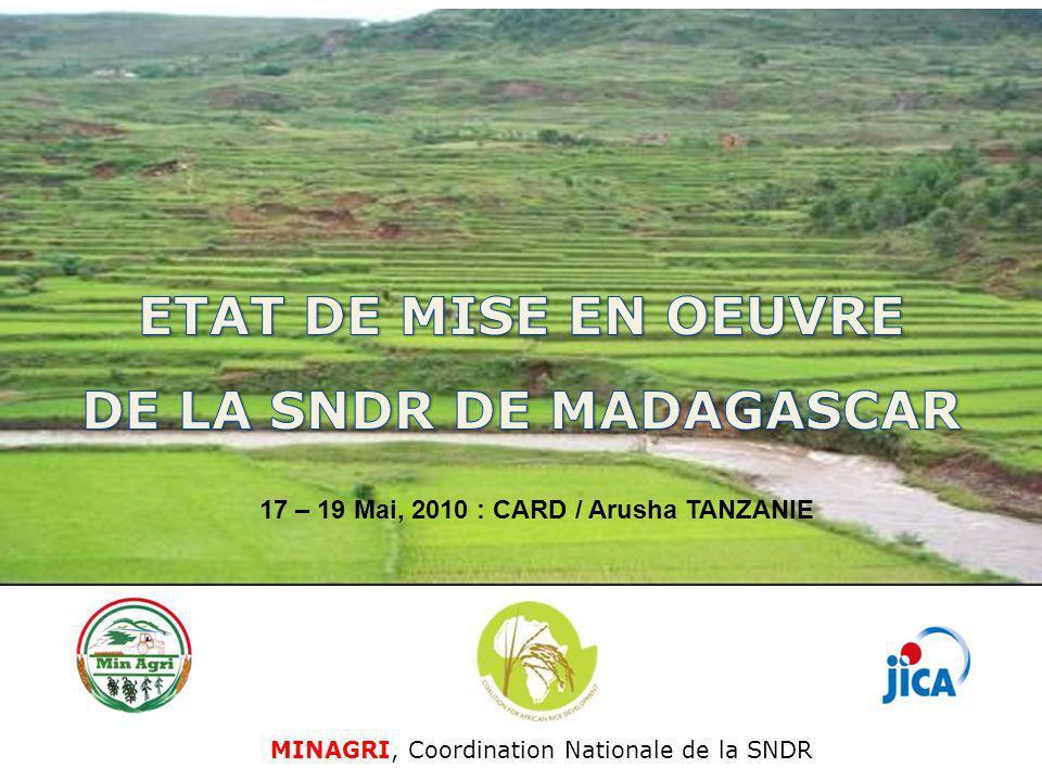 MINAGRI, Coordination Nationale de la SNDR 17 – 19 Mai, 2010 : CARD / Arusha TANZANIE