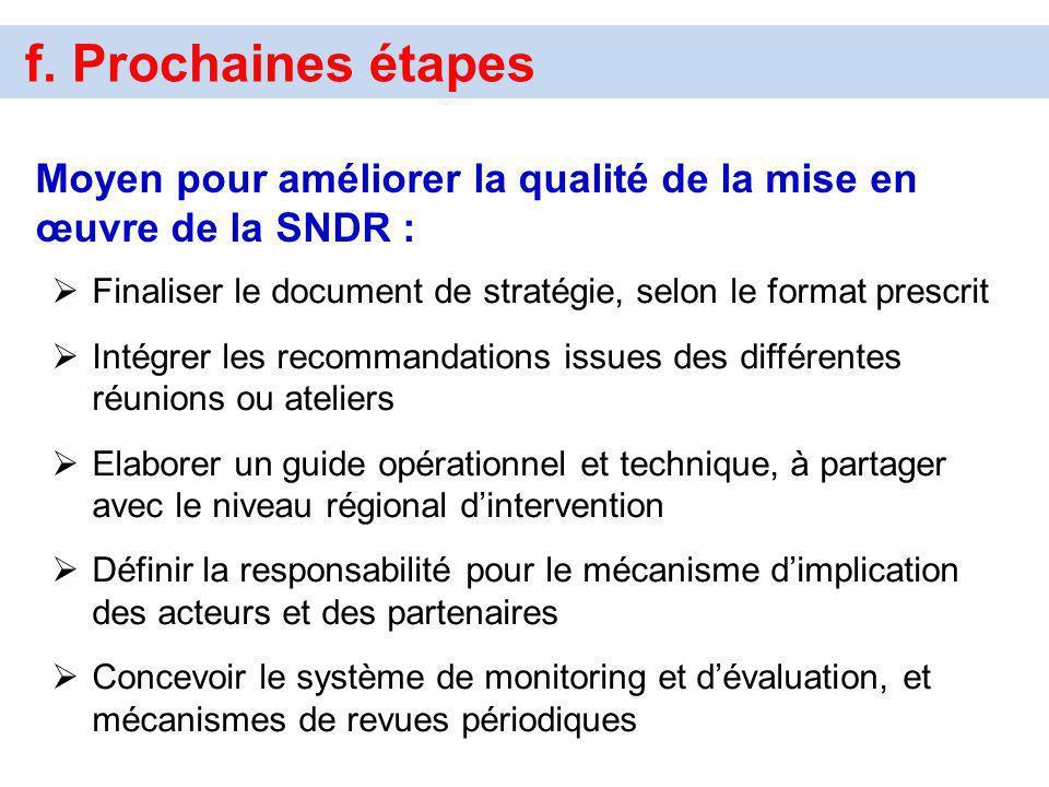 f. Prochaines étapes Moyen pour améliorer la qualité de la mise en œuvre de la SNDR : Finaliser le document de stratégie, selon le format prescrit Int