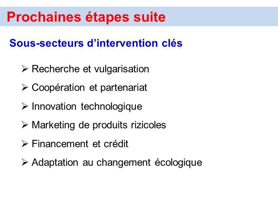 Prochaines étapes suite Sous-secteurs dintervention clés Recherche et vulgarisation Coopération et partenariat Innovation technologique Marketing de p