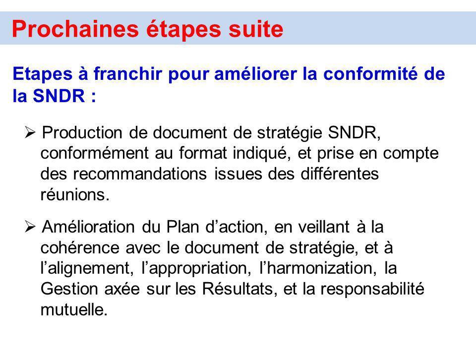 Prochaines étapes suite Etapes à franchir pour améliorer la conformité de la SNDR : Production de document de stratégie SNDR, conformément au format i