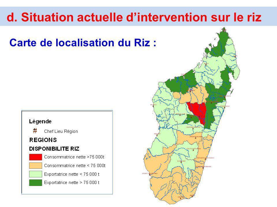 d. Situation actuelle dintervention sur le riz Carte de localisation du Riz :