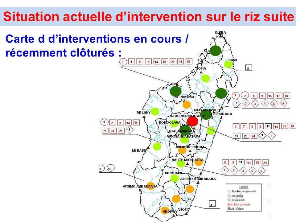 qqqqqq Situation actuelle dintervention sur le riz suite Carte d dinterventions en cours / récemment clôturés :