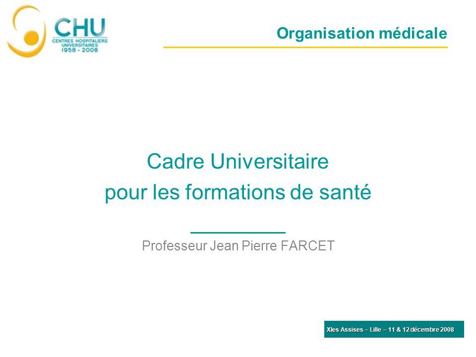 Organisation médicale Cadre Universitaire pour les formations de santé Professeur Jean Pierre FARCET XIes Assises – Lille – 11 & 12 décembre 2008