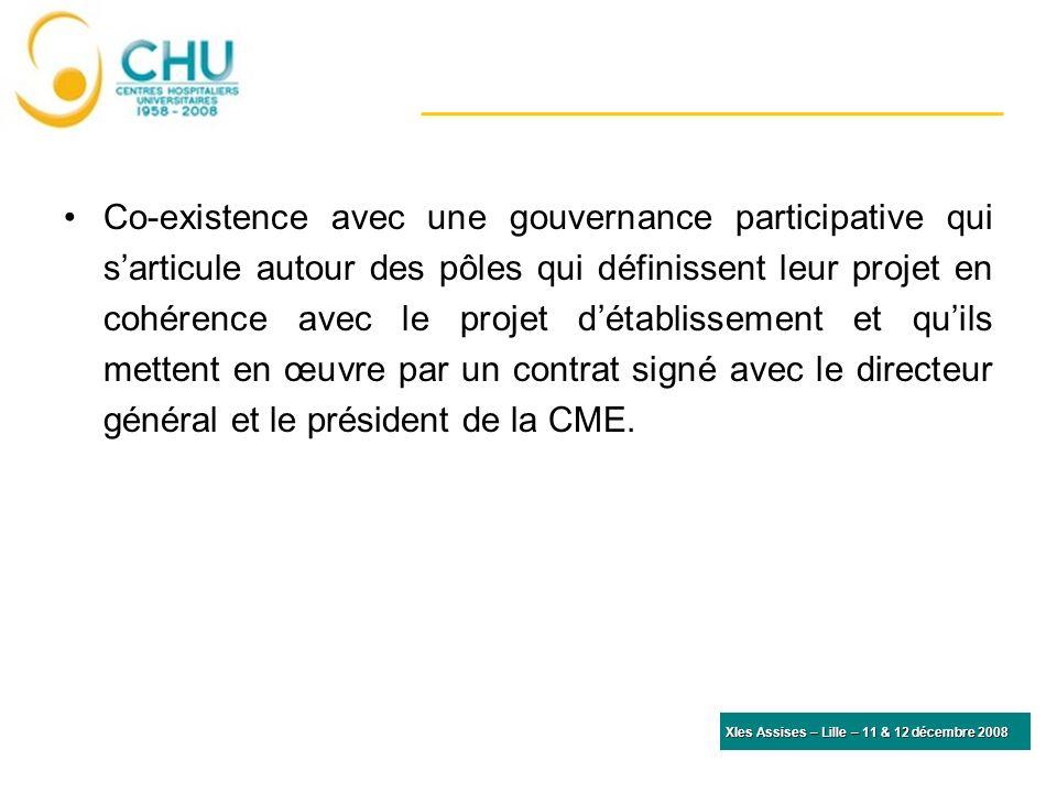 XIes Assises – Lille – 11 & 12 décembre 2008 Co-existence avec une gouvernance participative qui sarticule autour des pôles qui définissent leur projet en cohérence avec le projet détablissement et quils mettent en œuvre par un contrat signé avec le directeur général et le président de la CME.
