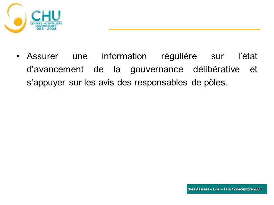 XIes Assises – Lille – 11 & 12 décembre 2008 Assurer une information régulière sur létat davancement de la gouvernance délibérative et sappuyer sur les avis des responsables de pôles.