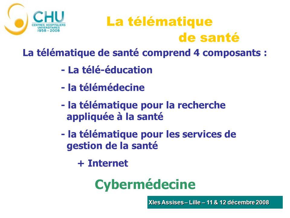 La télématique de santé comprend 4 composants : - La télé-éducation - la télémédecine - la télématique pour la recherche appliquée à la santé - la télématique pour les services de gestion de la santé + Internet Cybermédecine La télématique de santé XIes Assises – Lille – 11 & 12 décembre 2008