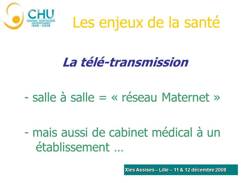 Les enjeux de la santé Une amélioration de la coordination des soins ne pourra être mise en place que par le partage et la diffusion rapide des informations Alexandre XIes Assises – Lille – 11 & 12 décembre 2008