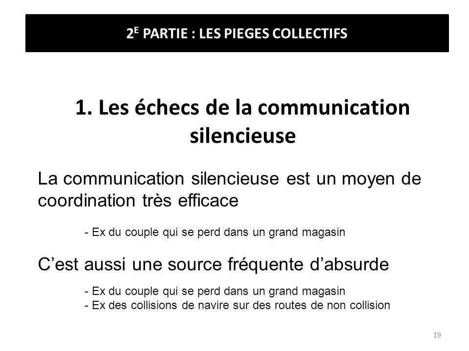 1. Les échecs de la communication silencieuse La communication silencieuse est un moyen de coordination très efficace - Ex du couple qui se perd dans